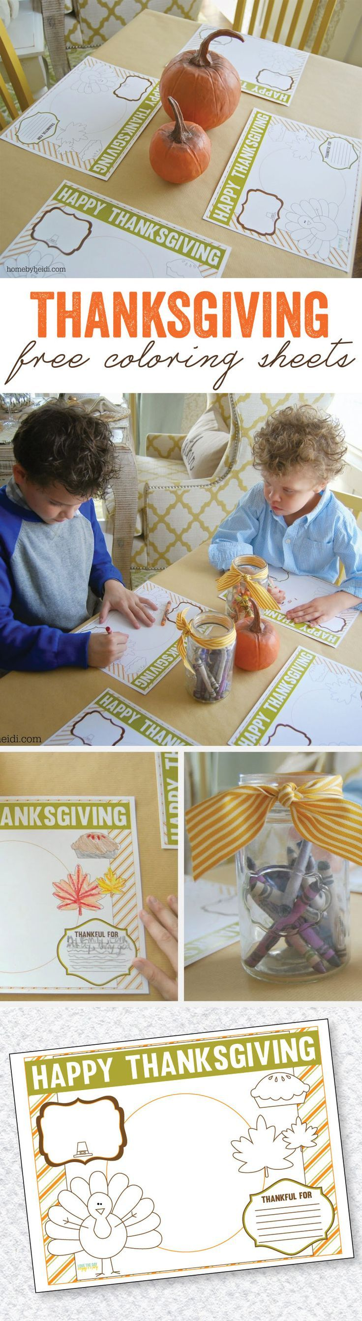 Thanksgiving Coloring Placemats by Lindi Haws of Love The Day ...
