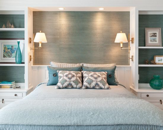 Traditional Turquoise Bedroom Ideas With Modern Double Lights Also