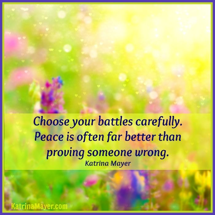 Choose Your Battles Carefully. Peace Is Often Far Better Than Proving  Someone Wrong. Katrina. Inspiration QuotesPeace ...
