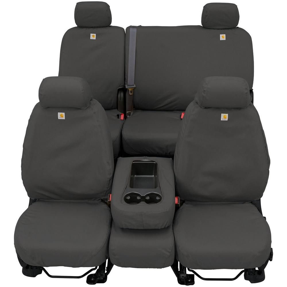 Covercraft Carhartt Seat Saver 2nd Row Custom Fit Seat Cover Gravel Fits Double Cab Solid Bench Seat Ssc8431cagy The Home Depot Custom Fit Seat Covers Custom Seat Covers Custom Trucks