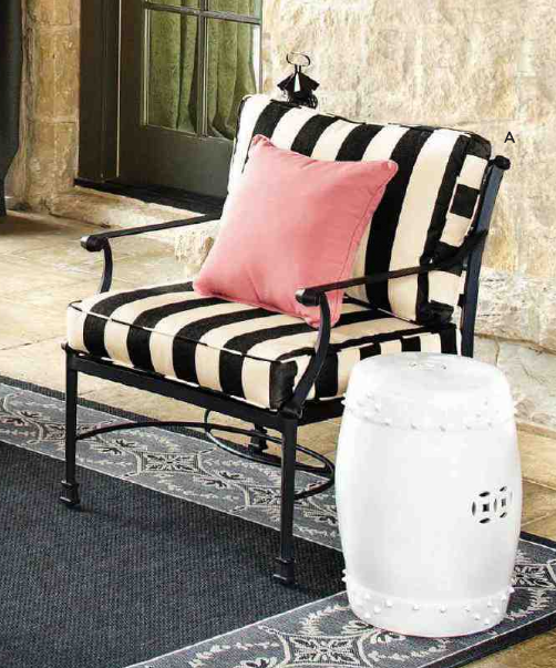 Black Striped Patio Chair Amp White Garden Stool Patio