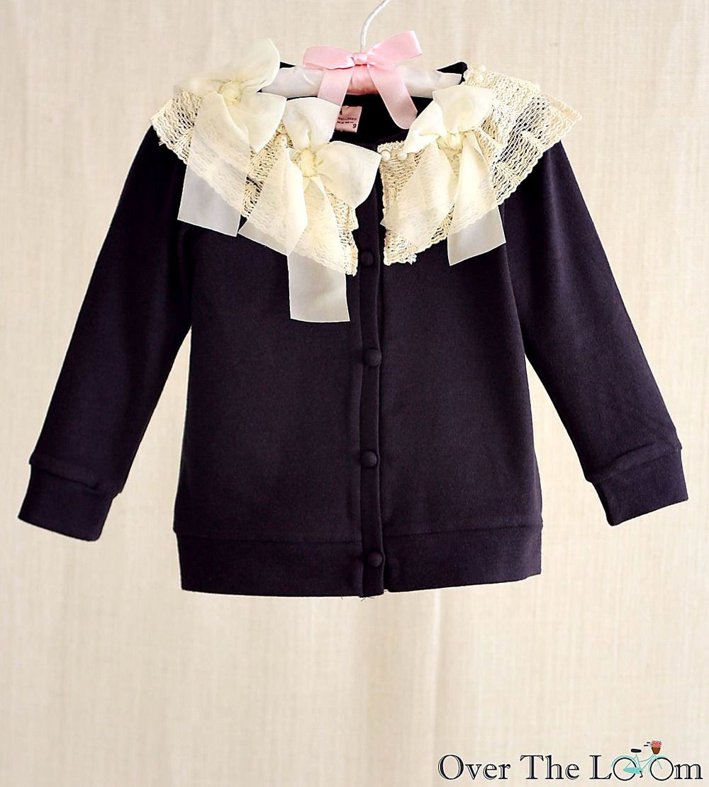 Chiffon Bow Cardigan in Navy Front | Avonlea Claire Swain | Pinterest