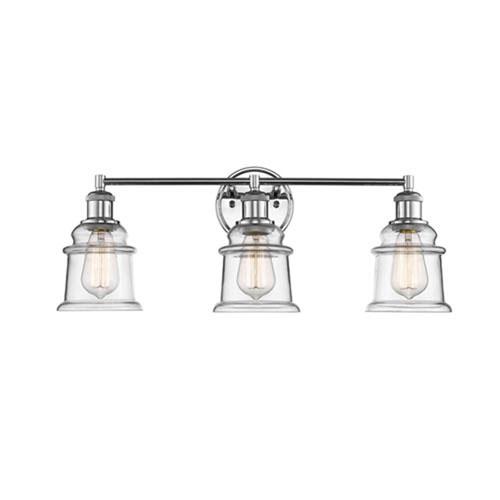 chrome three light vanity with clear glass bathroom bathroom rh pinterest com
