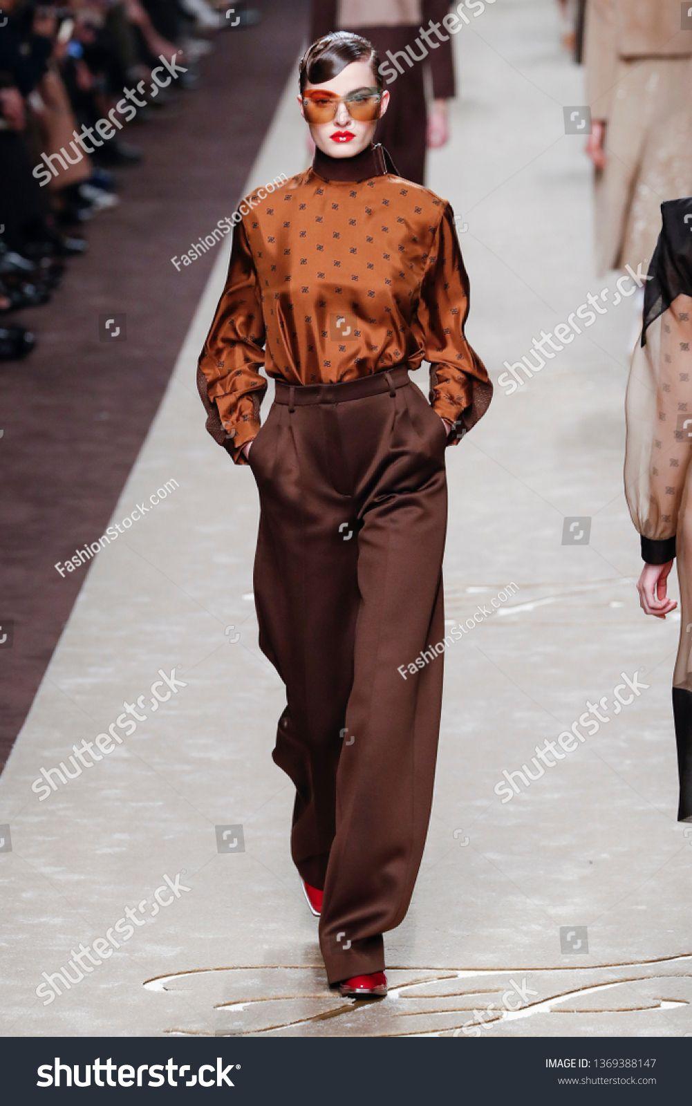 MILAN ITALY  FEBRUARY 21 A model walks the runway at the Fendi show at Milan Fashion Week Autumnu002FWinter 2019u002F20 on February 21 2019 in Milan Italy