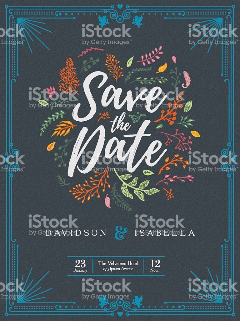 A wedding invitation template adorned with floral elements. EPS 10 ...