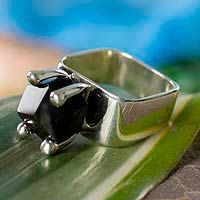 Obsidian solitaire ring, 'Facets' by NOVICA