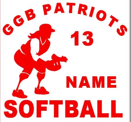 Softball custom personalized window decals custom to your league