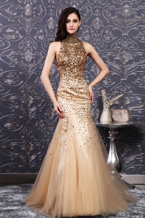 2014 Sequined Gold Mermaid High Neck Prom Dress | Chloe ...