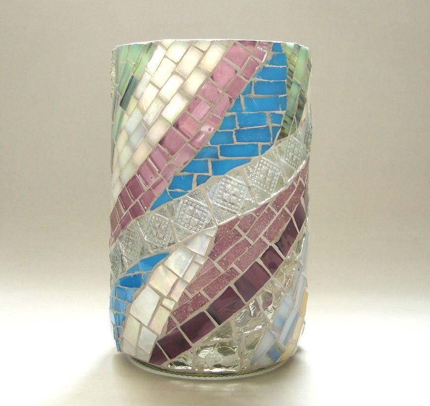 Vaso De Vidro Feito De Garrafa De Lucano Mosaico Mosaico