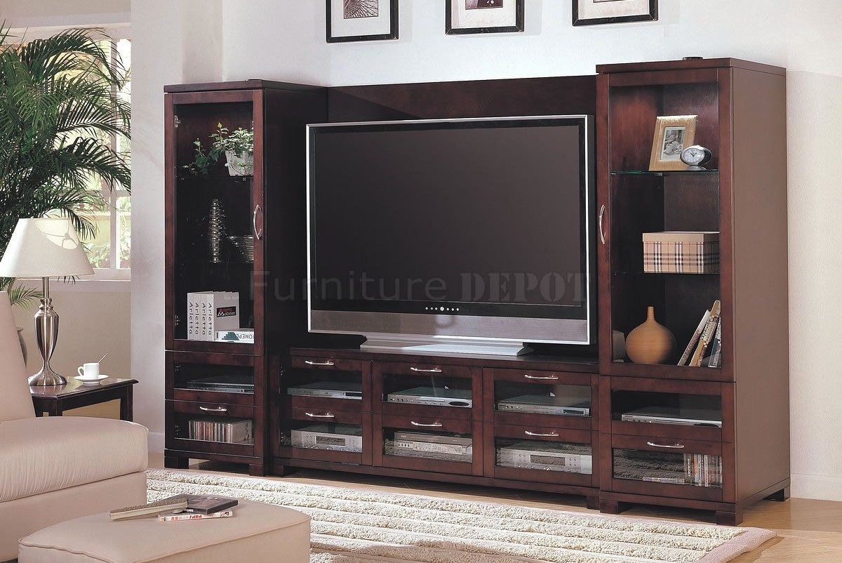 Cappuccino Finish Modern Entertainment Wall Unit W/Glass Doors