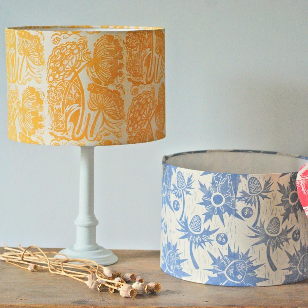 «#hanmadebyhannahmadden #blockprintedbyhand #lampshades #ceilingshades #homedecor #seaholly #queenanneslace»