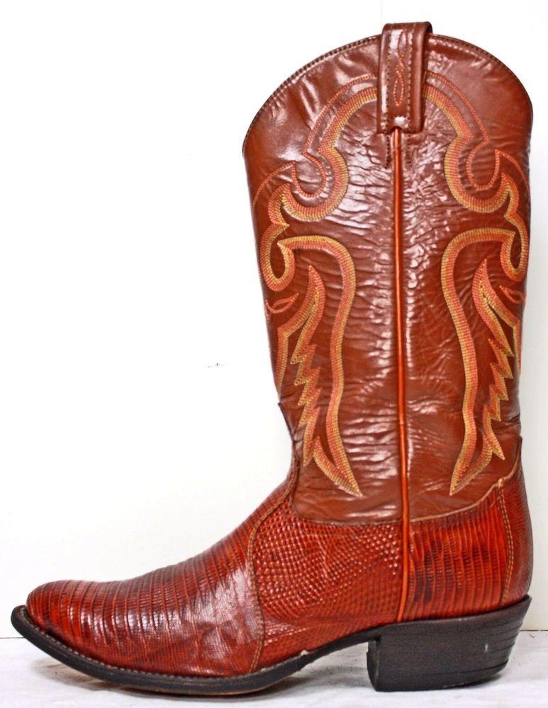 d3dccd45c2b Tony Lama Style 8540 Men's Genuine Lizard Skin Boots Size 9½ D ...