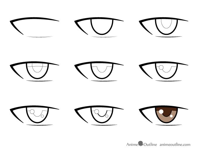 How To Draw Male Anime Manga Eyes Animeoutline Olhos De Anime Como Desenhar Labios Desenho De Olho De Anime
