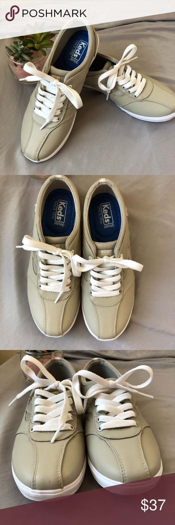 Keds Ortholite Lace Up Shoe 7 Beige