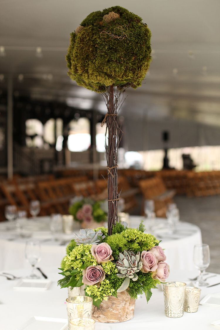Tall moss topiary centerpieces at Krippendorf Lodge, by