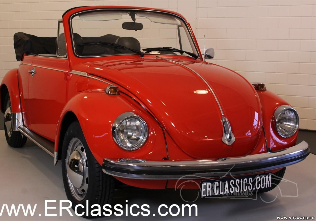 vente voiture ancienne de collection volkswagen coccinelle cabriolet 1974 rouge en tres bon. Black Bedroom Furniture Sets. Home Design Ideas