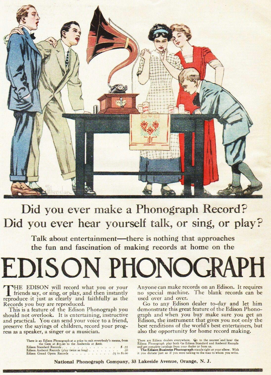 Edison 1911 Edison Phonograph Phonograph Old Advertisements