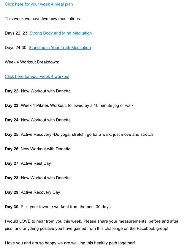 WEEK FOUR DETAILS Danette May 30 Day Challenge Pinterest - recovery plan