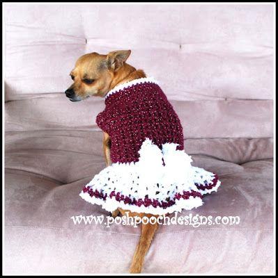 New Crochet Pattern Release Winter Berry Dog Sweater Dress Berry