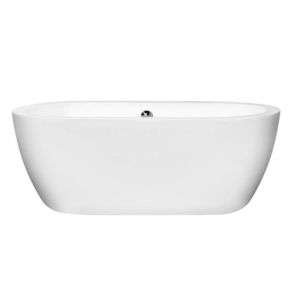 Wyndham Collection Soho 5 Ft Center Drain Soaking Tub In White Tub Home Depot Bathtub