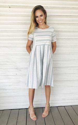 79e09a06d65 Marshall. Blue and white striped dress. Midi length dress. Spring Summer  dress with heels. Short sleeve dress.