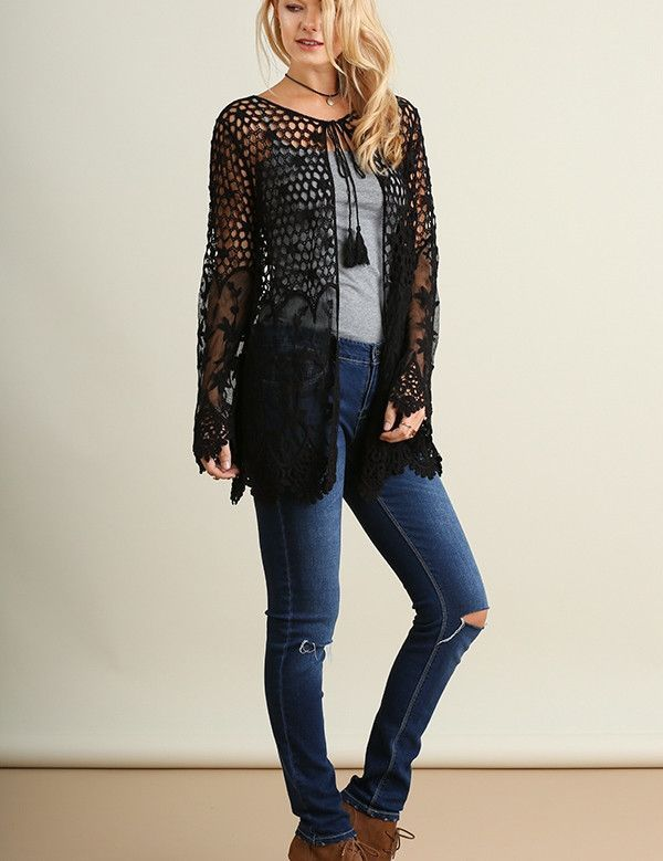 Simply Lace Crochet and Lace Open Front Cardigan Sweater Top Black ...