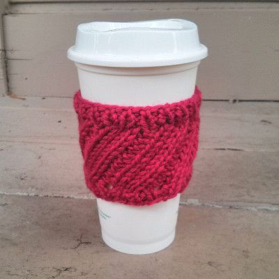 Free Knitting Pattern Tutorial Diagonal Rib Coffee Cup Sleeve By