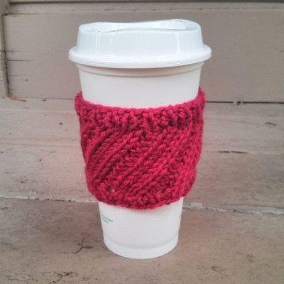 Free Knitting Pattern Tutorial Diagonal Rib Coffee Cup Sleeve By