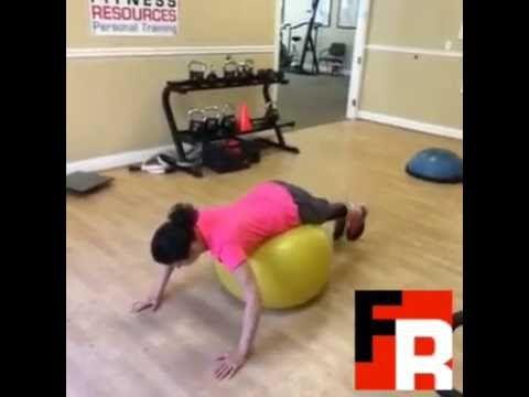 Reverce hyper extensions on exercise ball.