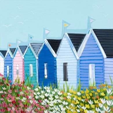 Mounted Print beach Huts Janet Bell