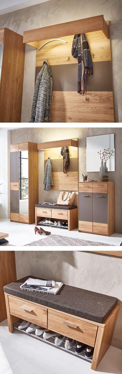 elegante garderobe aus holz mit praktischer beleuchtung gaderobe in 2018 pinterest. Black Bedroom Furniture Sets. Home Design Ideas