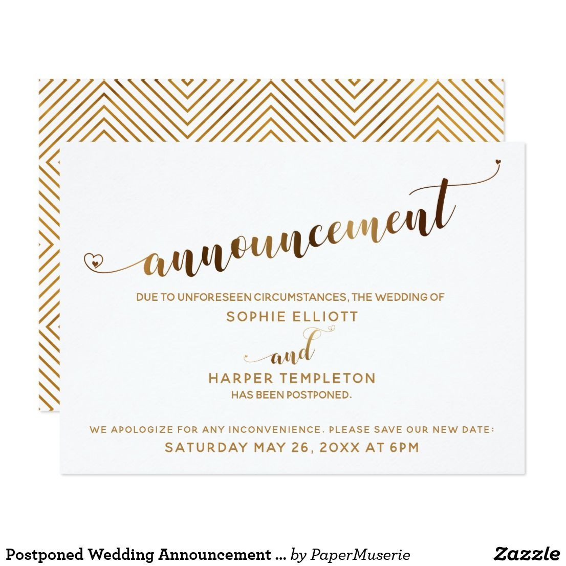 Postponed Wedding Announcement Gold Hearts Script Zazzle Com Wedding Announcements Pretty Script Fonts Cheap Wedding Invitations
