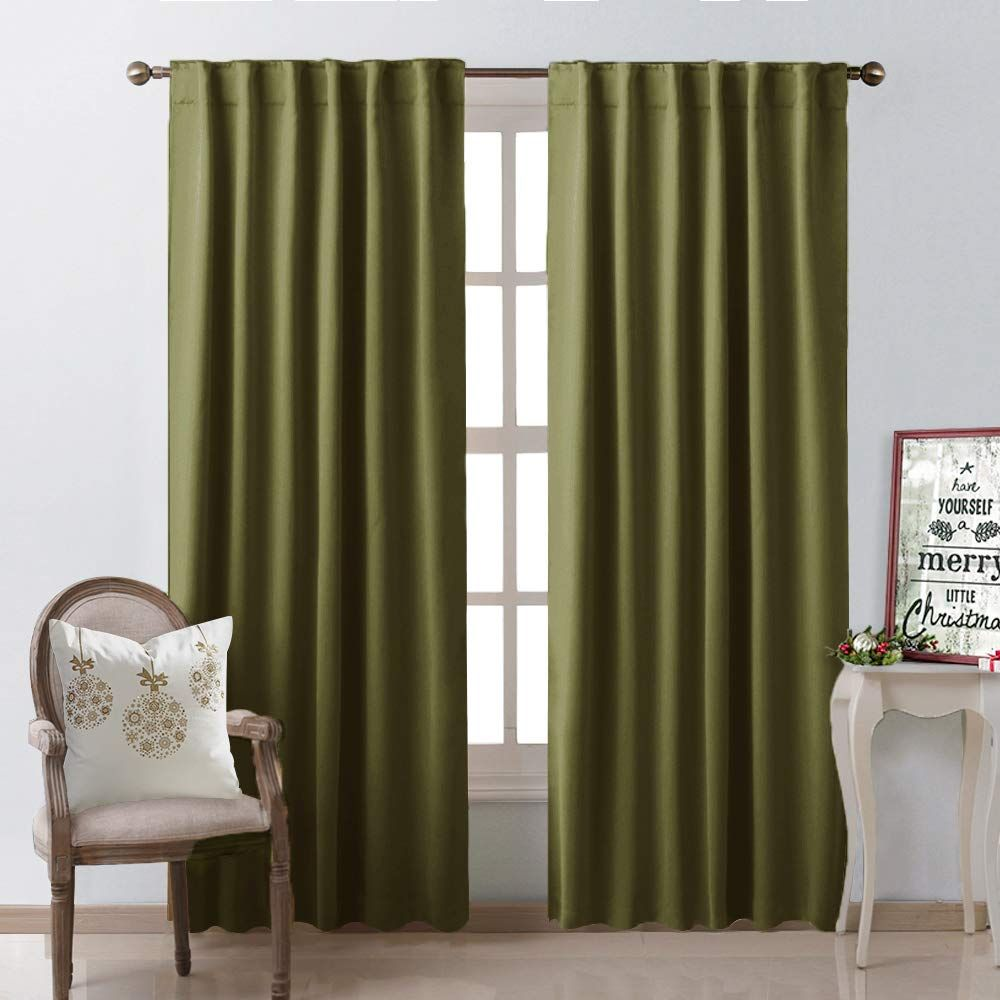 Nicetown Living Room Blackout Curtains And Draperies Olive