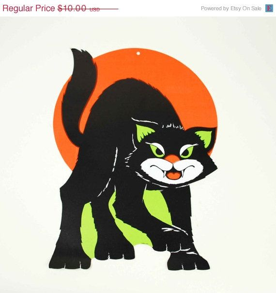 ON SALE Vintage Black Cat Full Moon Halloween Decoration   1960s