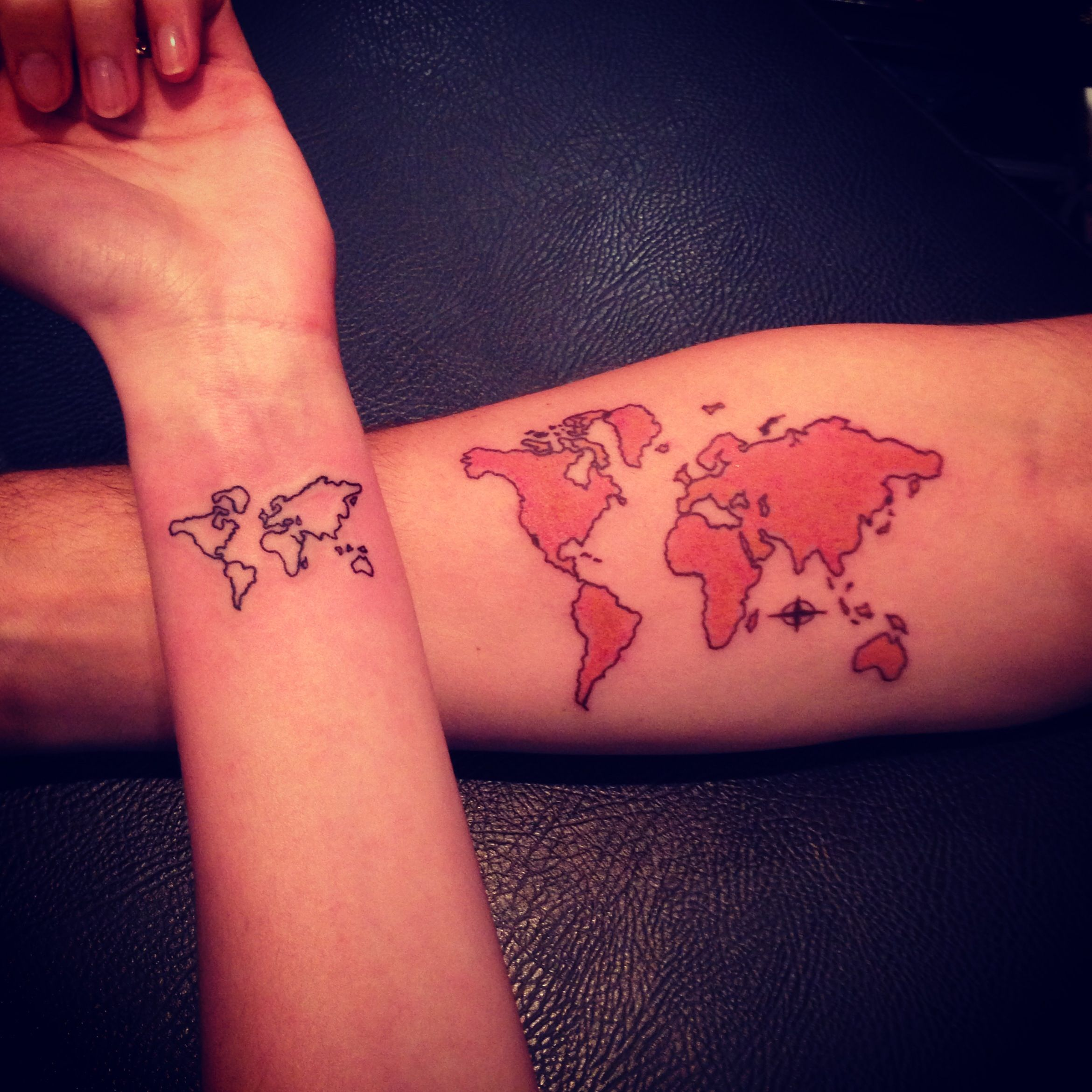 tattoo of the world map World Map Tattoo I Only Like The Tiny One Map Tattoos Couple