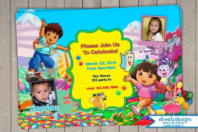 Dora the Explorer diego Candy Land Birthday Invitations – Dora the Explorer Birthday Invitations