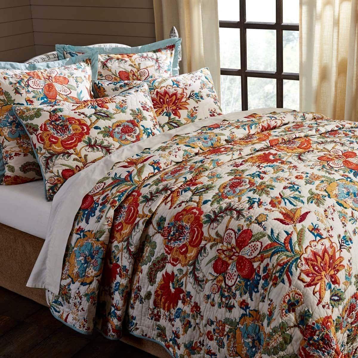 VHC Brands Meredith Quilt (Queen), Green (Cotton, Floral