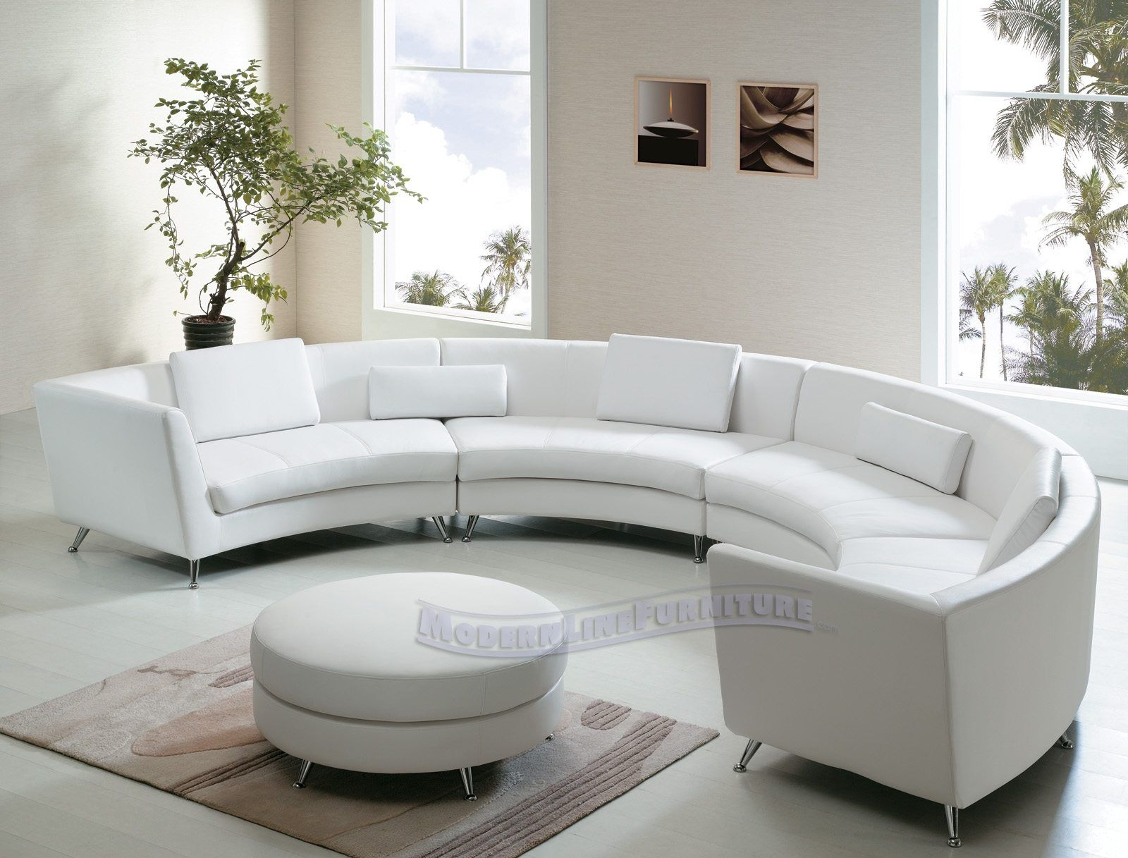 Comfortable Curved Sectional for Elegant Living Room Design Leather