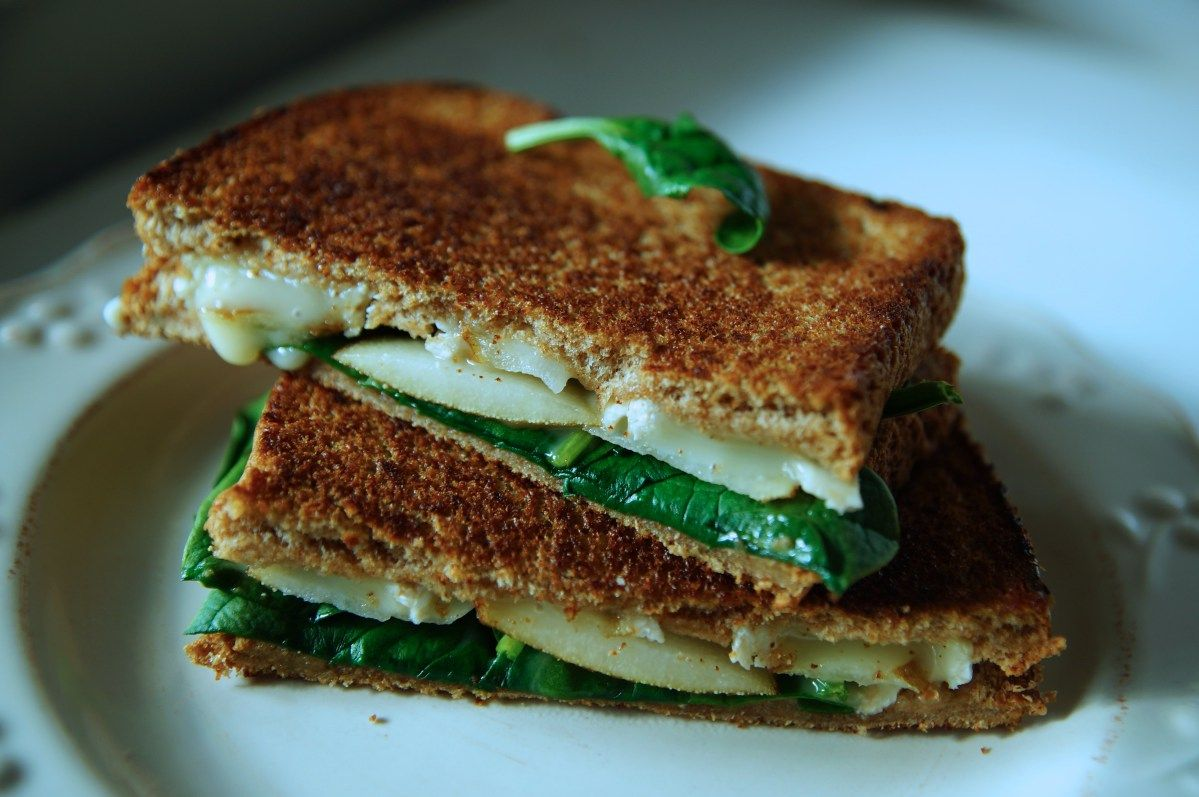 Spinach, Brie and Pear Panini