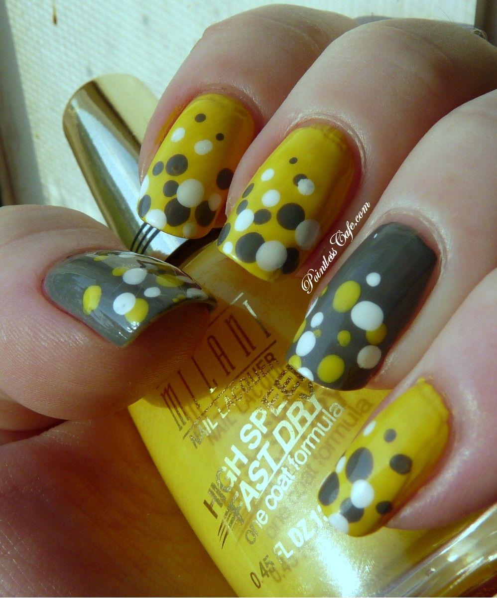 Uñas amarillas y grises | uñas | Pinterest | Uñas amarillas ...