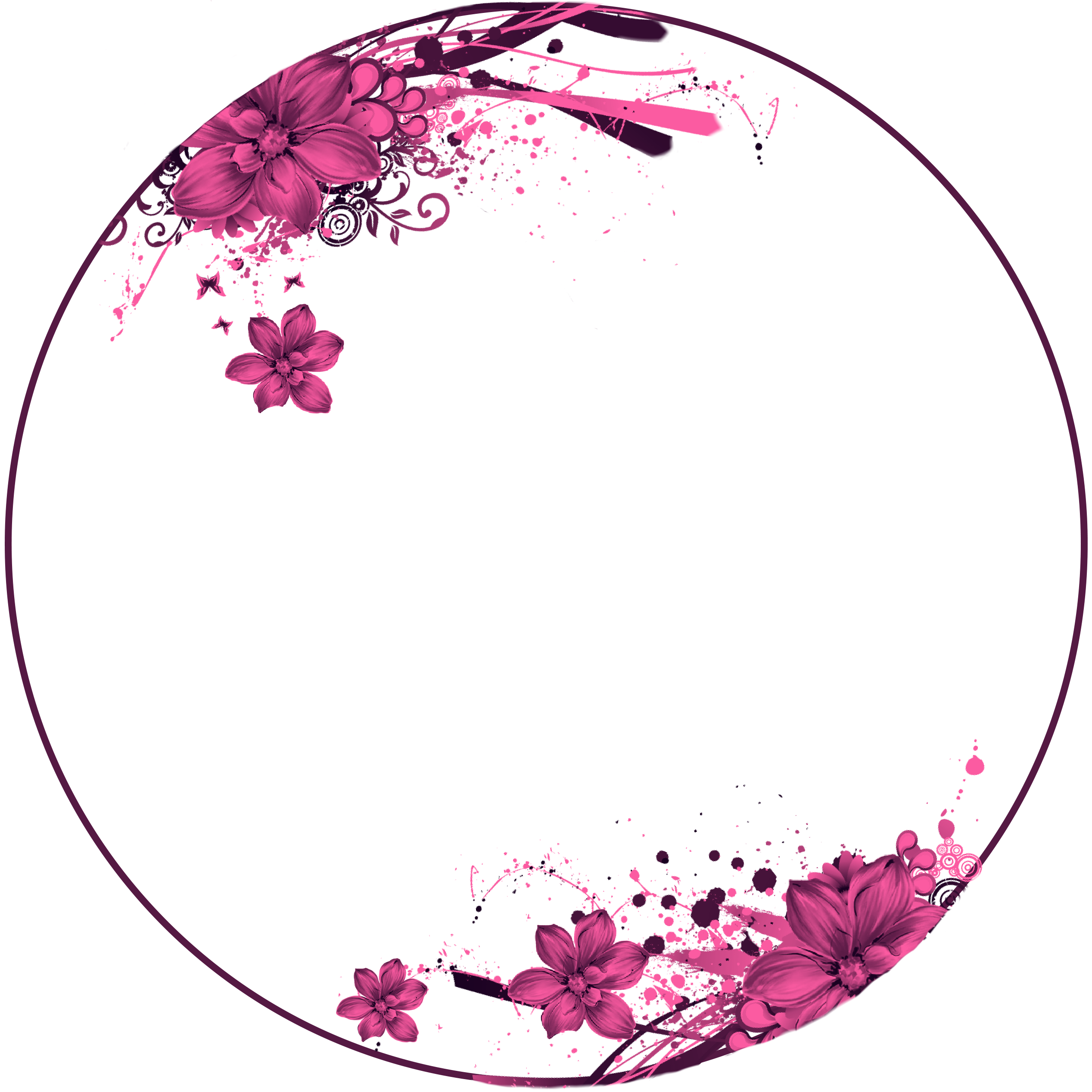 Flowers, pink, Circle Frame Vetores florais, Estampa
