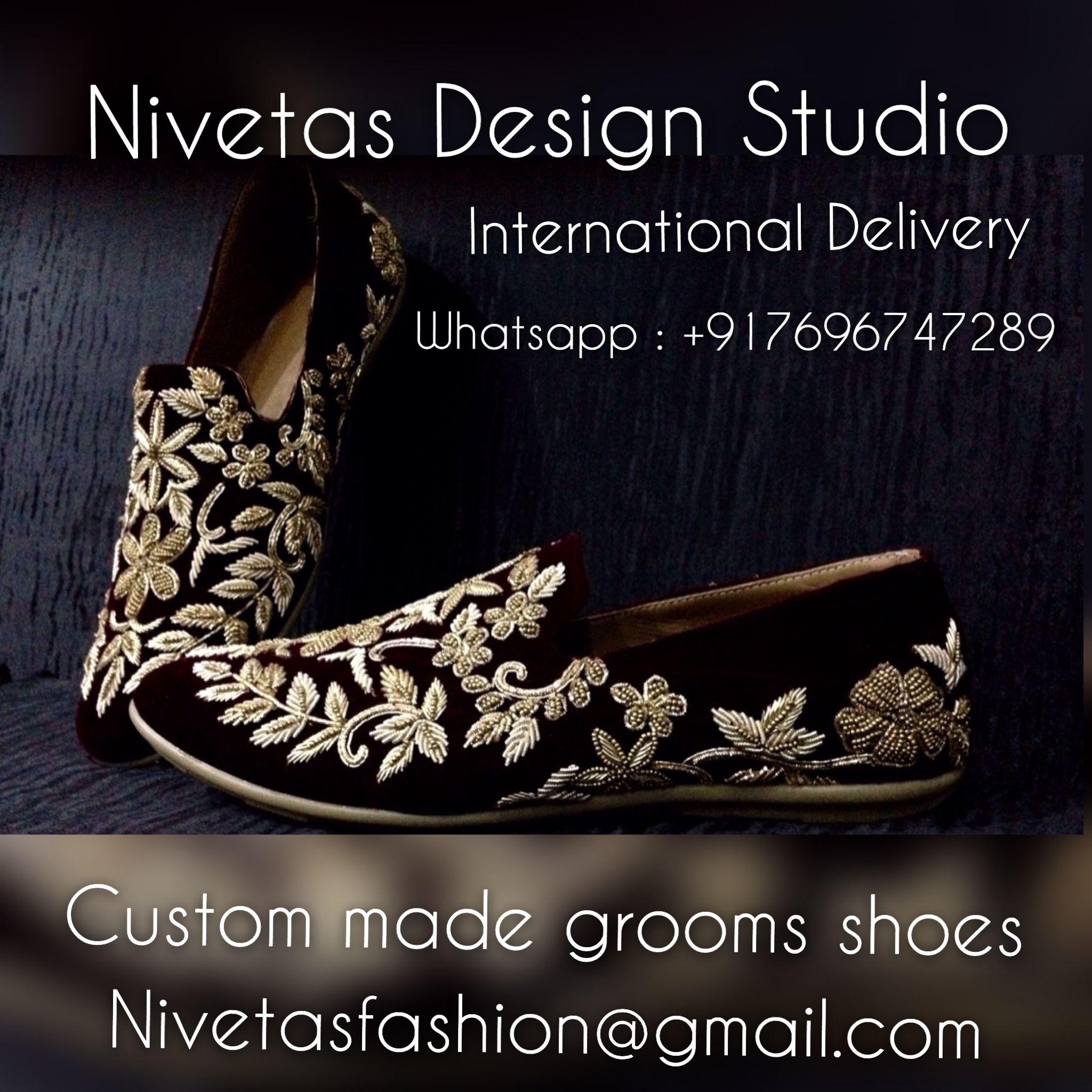 Grooms men shoes Embroidered groom shoes. Nivetas Design studio the soul  manufacturer of embroidered shoes