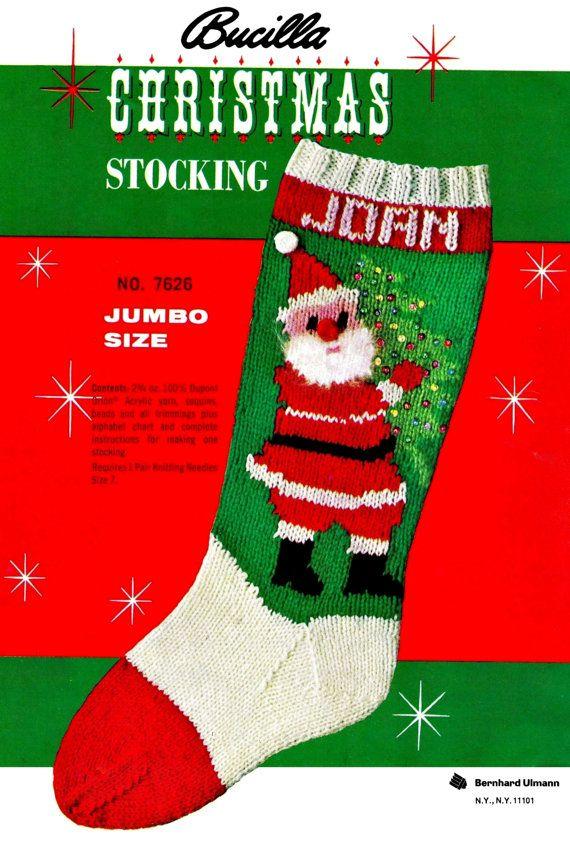 "Knit Christmas ""STOCKING"" - PDF Pattern | Knitted christmas ..."