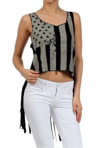 Distressed USA Flag Fringed Hi-Lo Top | OnlyLeggings.com
