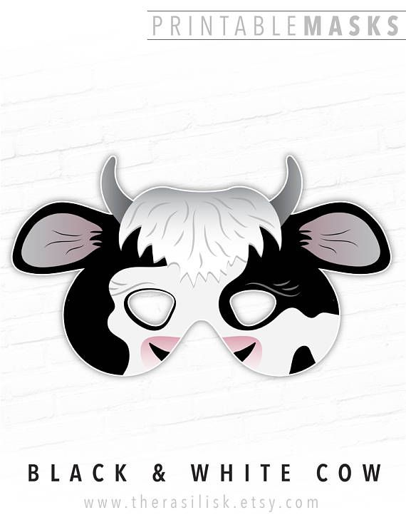 graphic relating to Cow Costume Printable called Cow Mask Animal Mask Halloween Mask Printable Mask Farm