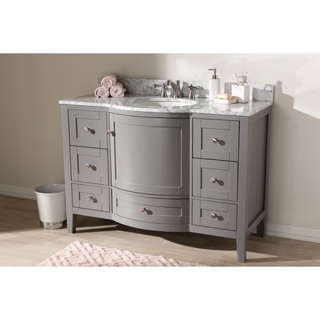 Baxton Studio Nicole 48 Inch Transitional Grey Finished Wood And