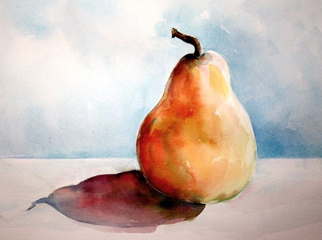 Christy Dekoning Travels In Watercolor Pear Watercolour Still