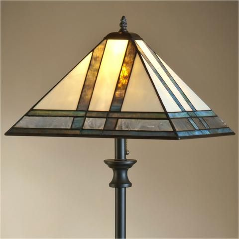 Mission Style Stained Glass Floor Lamp 370 By J Devlin
