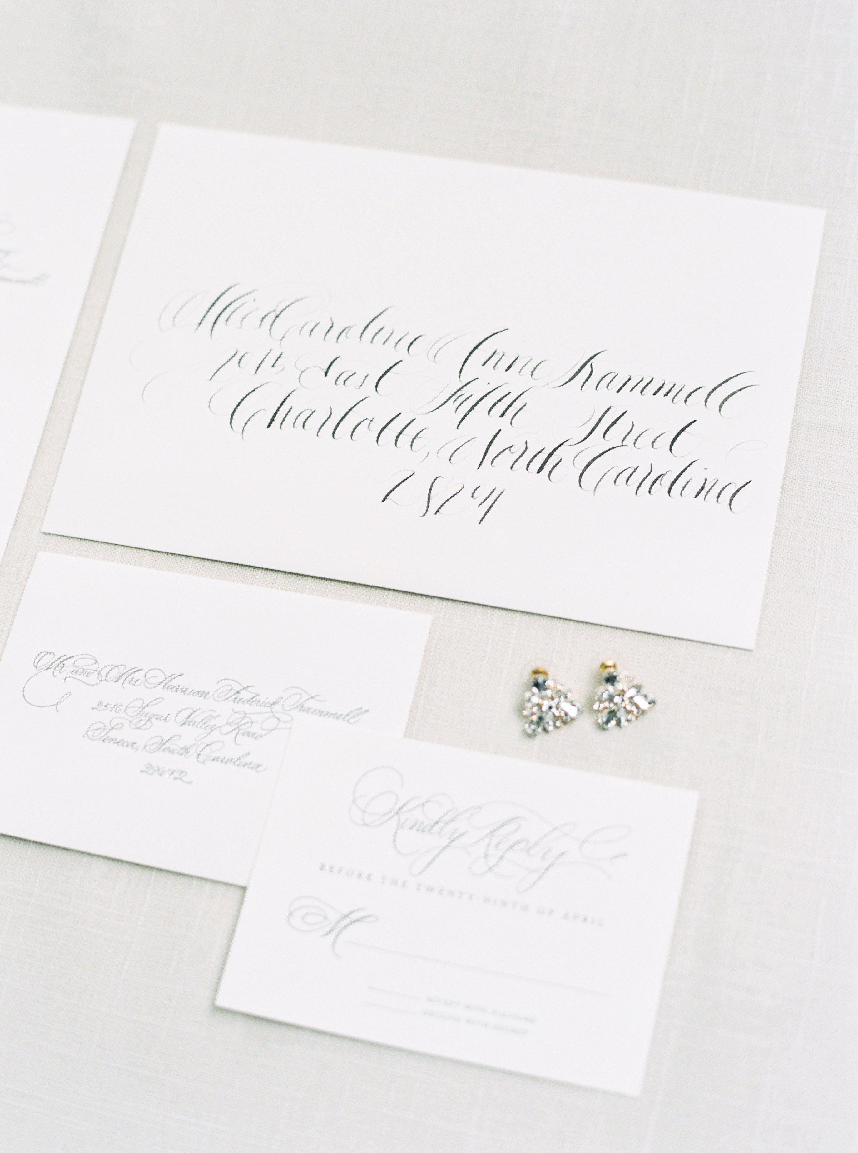 Classic southern wedding invitation calligraphy for North Carolina ...