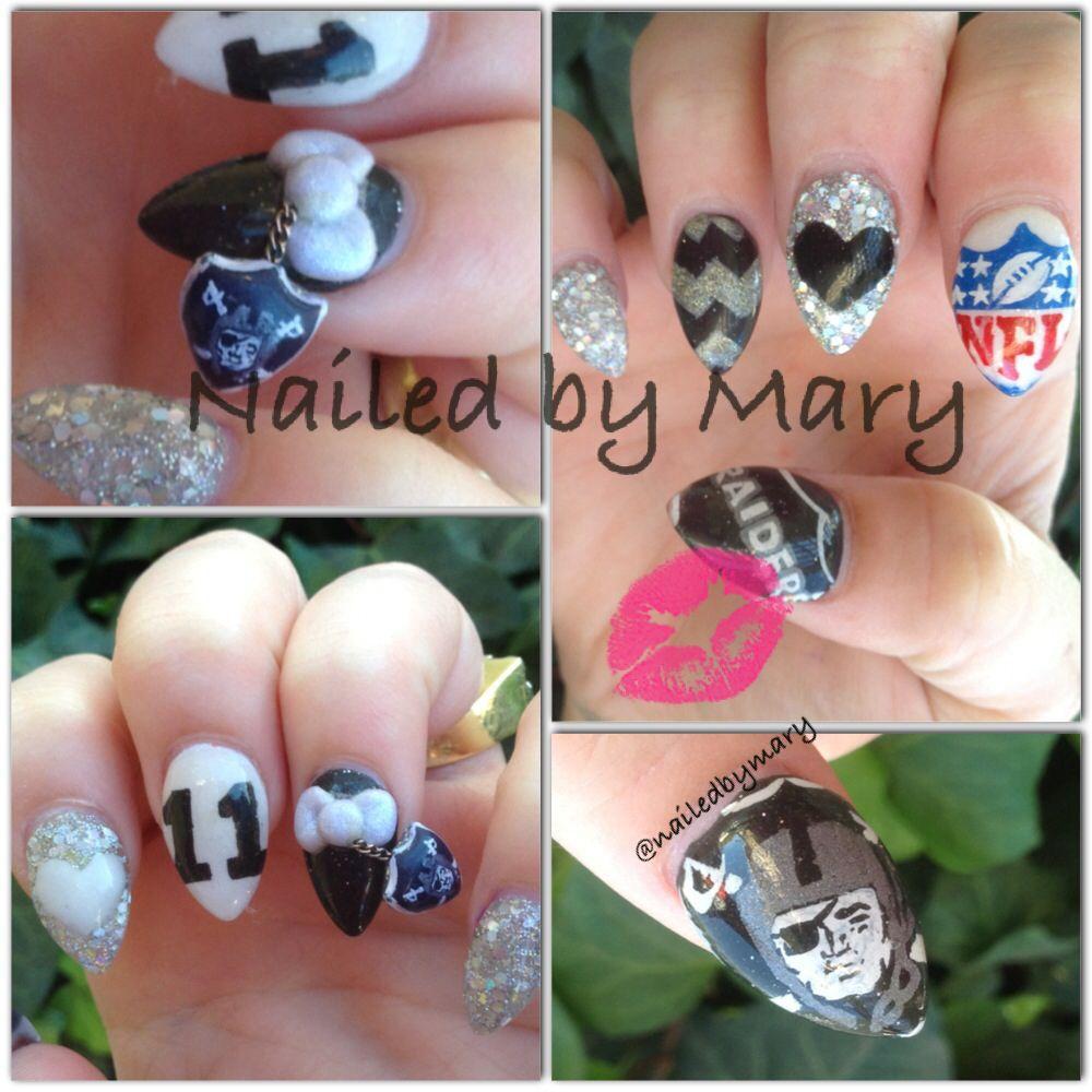 Nfl Oakland raider nails stiletto dangle charm | RaiderGame Ready ...